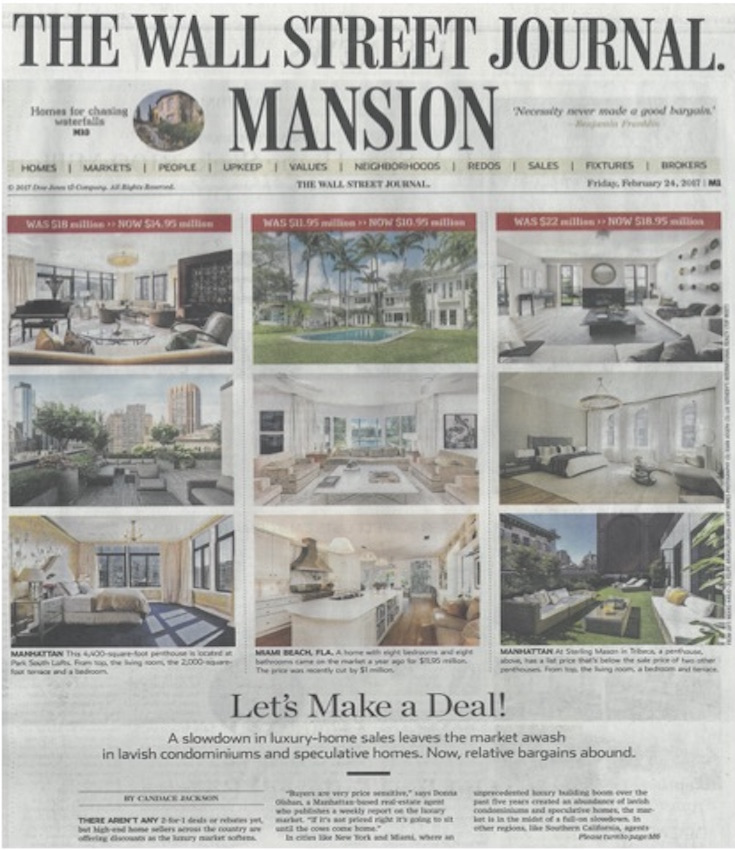 Luxury Home Sellers Slash Millions Off Asking - WSJ - Tracy McLaughlin