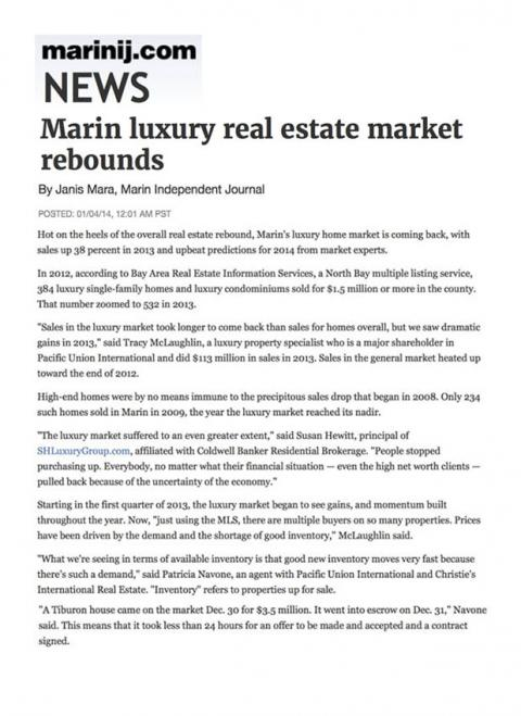 Marin luxury real estate market rebounds