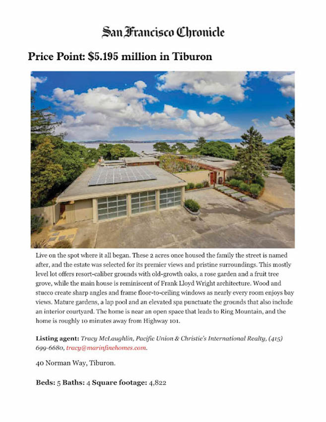 Price Point: $5.195 Million in Tiburon