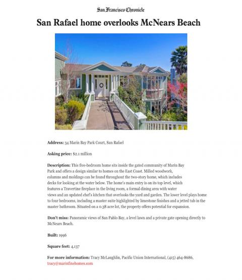 San Rafael home overlooks McNears Beach