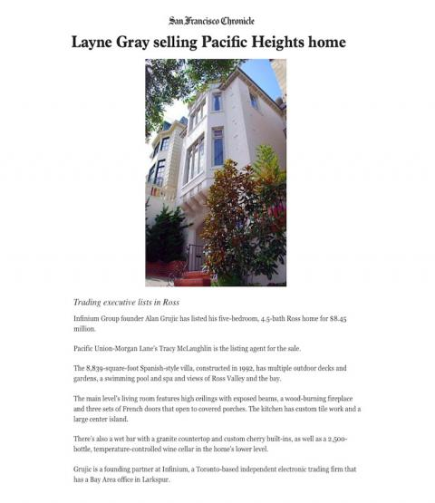 Layne Gray selling Pacific Heights home