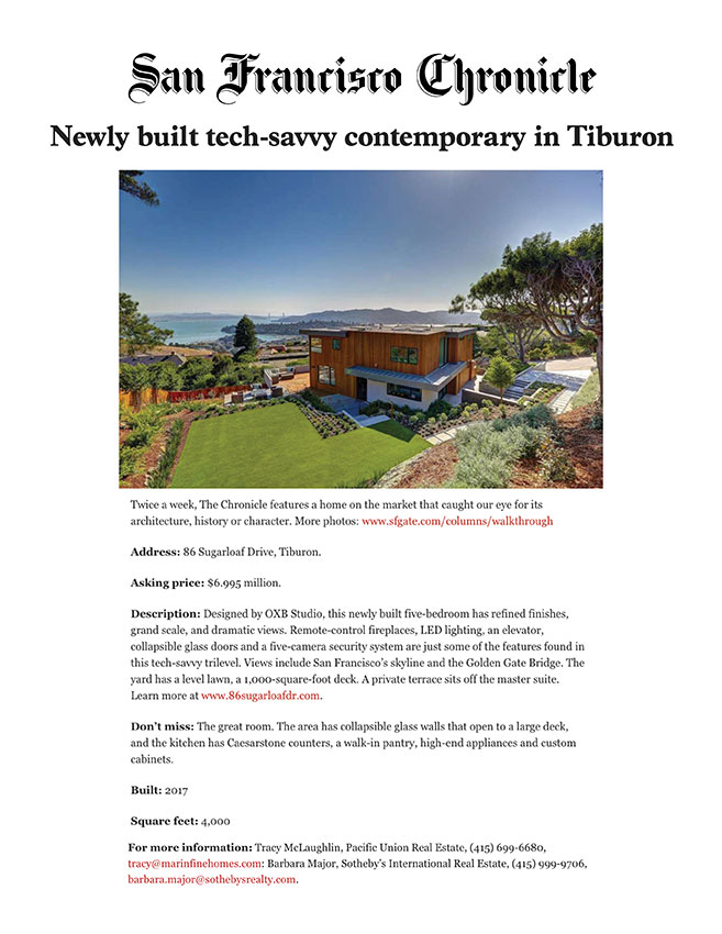 Newly built tech-savvy contemporary in Tiburon