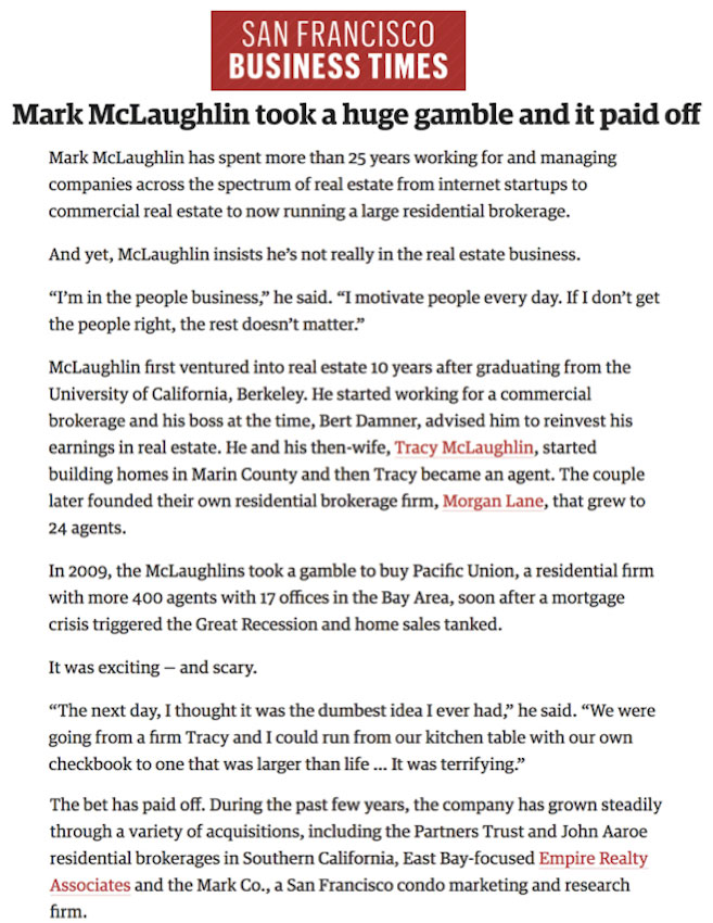 Mark McLaughlin took a huge gamble and it paid off
