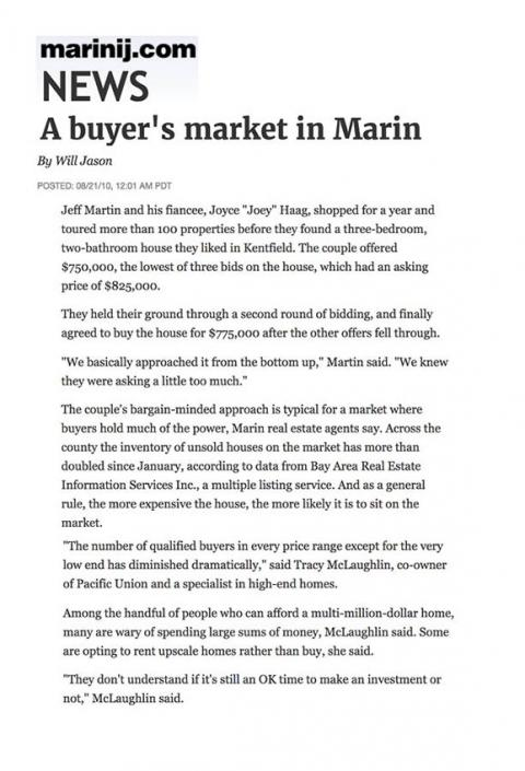 A buyer's market in Marin