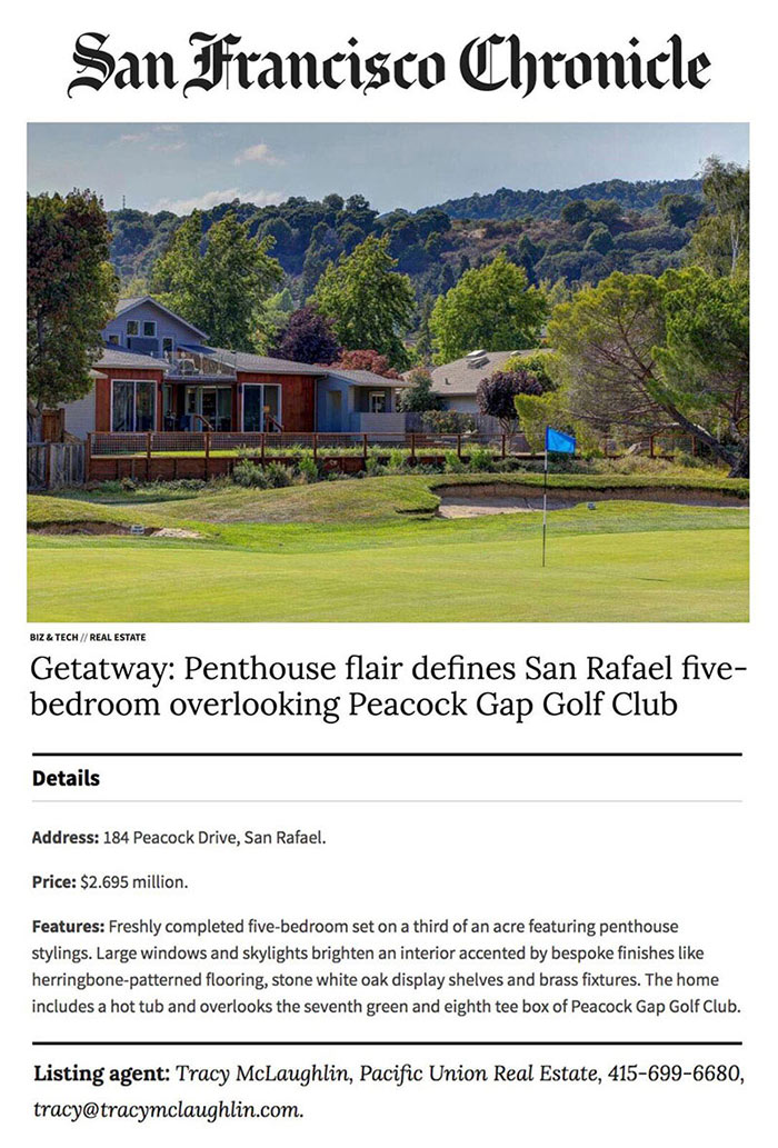 Getatway: Penthouse flair defines San Rafael five-bedroom overlooking Peacock Gap Golf Club