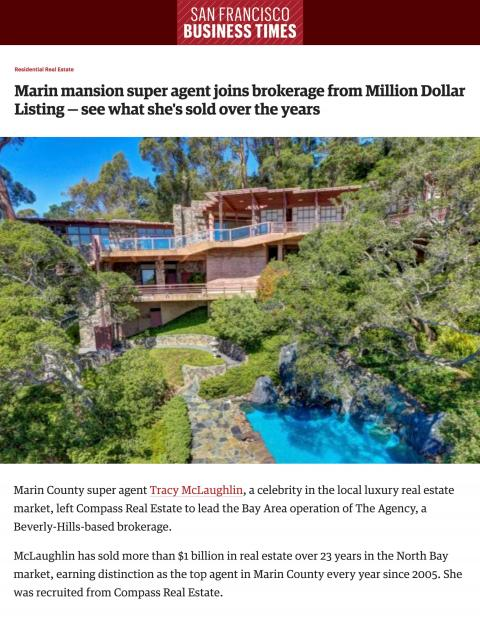 Marin mansion super agent joins brokerage from Million Dollar Listing — see what she's sold over the years