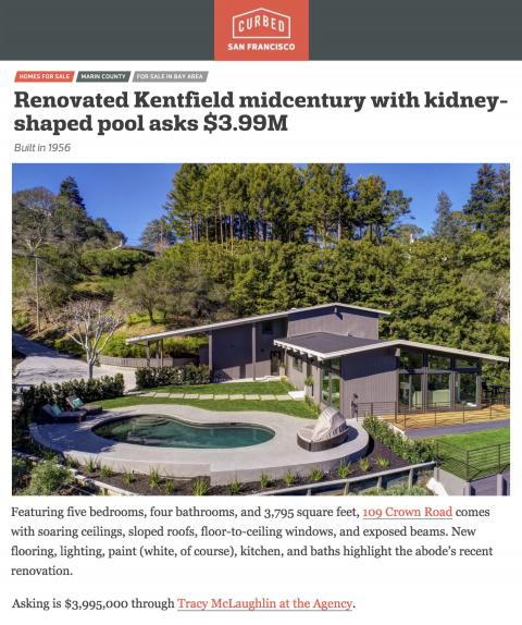 Renovated Kentfield midcentury with kidney-shaped pool asks $3.99M