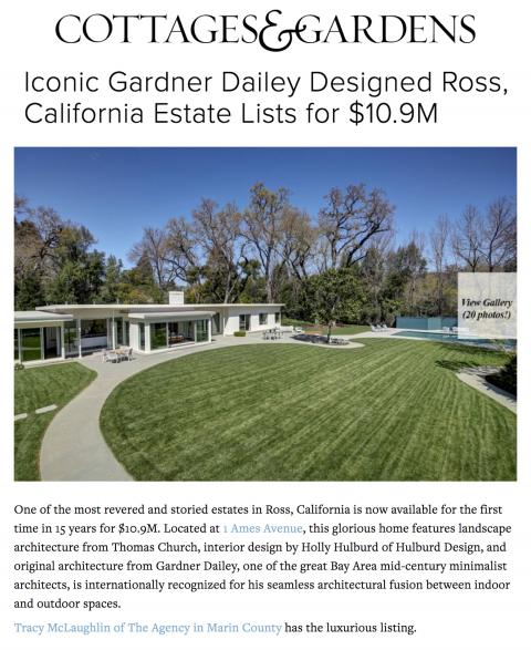 Iconic Gardner Dailey Designed Ross, California Estate Lists for $10.9M