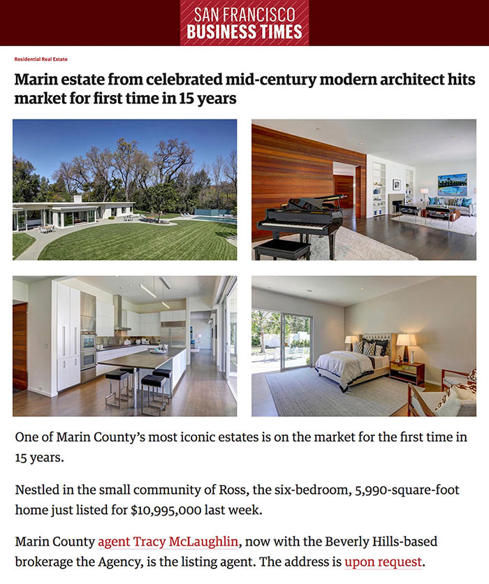 Marin estate from celebrated mid-century modern architect hits market for first time in 15 years