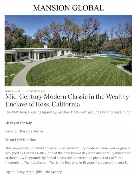 Mid-Century Modern Classic in the Wealthy Enclave of Ross, California