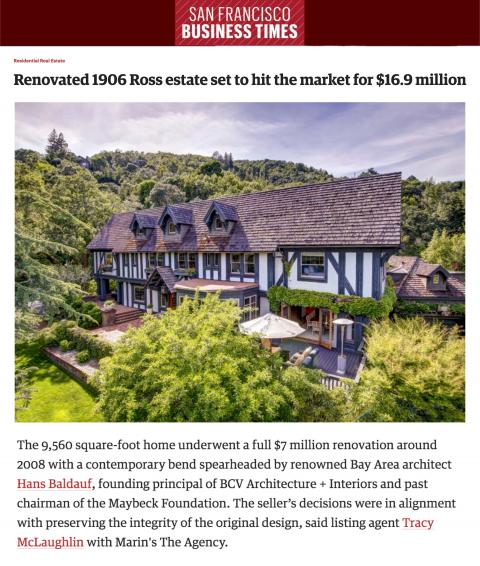 Renovated 1906 Ross estate set to hit the market for $16.9 million