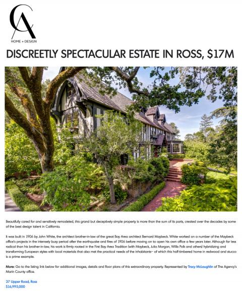 DISCREETLY SPECTACULAR ESTATE IN ROSS, $17M