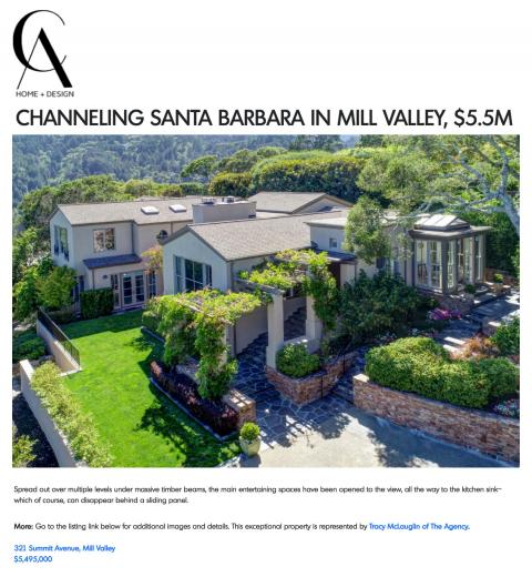 CHANNELING SANTA BARBARA IN MILL VALLEY, $5.5M