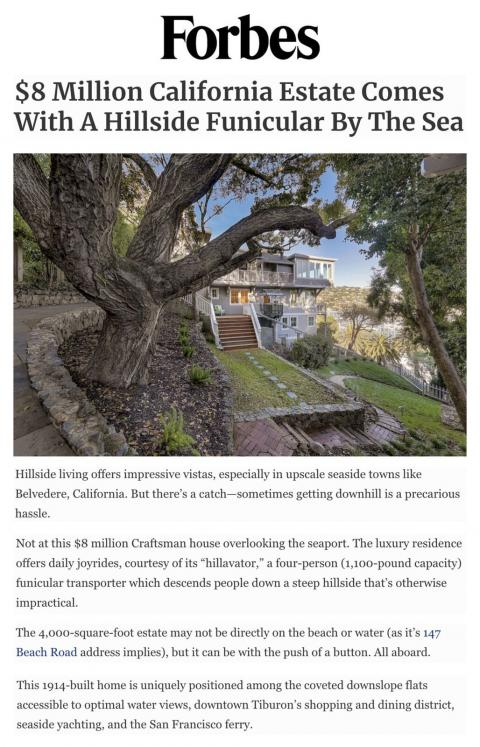 $8 Million California Estate Comes With A Hillside Funicular By The Sea